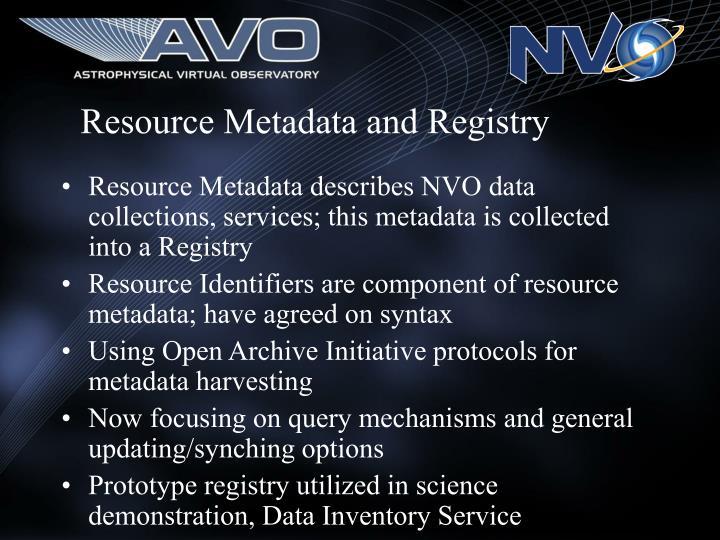 Resource Metadata and Registry