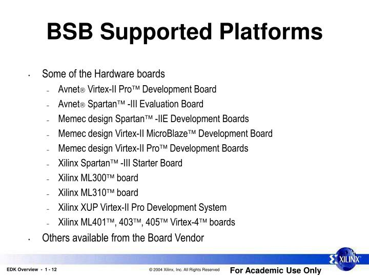 BSB Supported Platforms