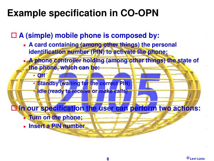 Example specification in CO-OPN