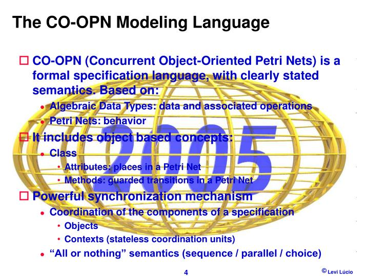 The CO-OPN Modeling Language
