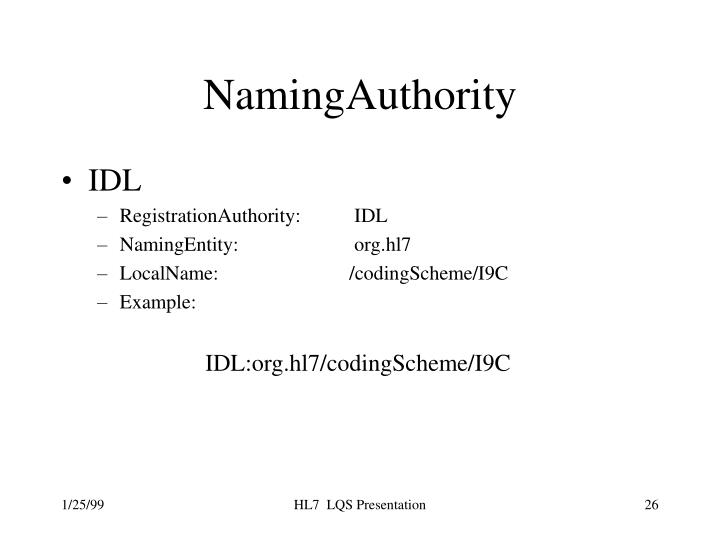 NamingAuthority