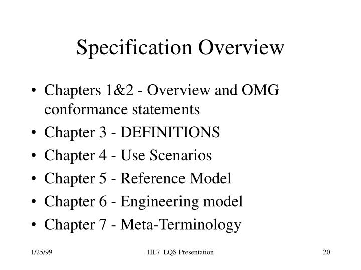 Specification Overview