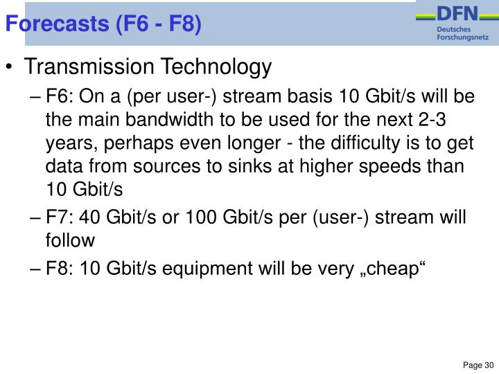 Forecasts (F6 - F8)
