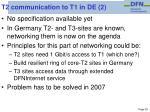 t2 communication to t1 in de 2