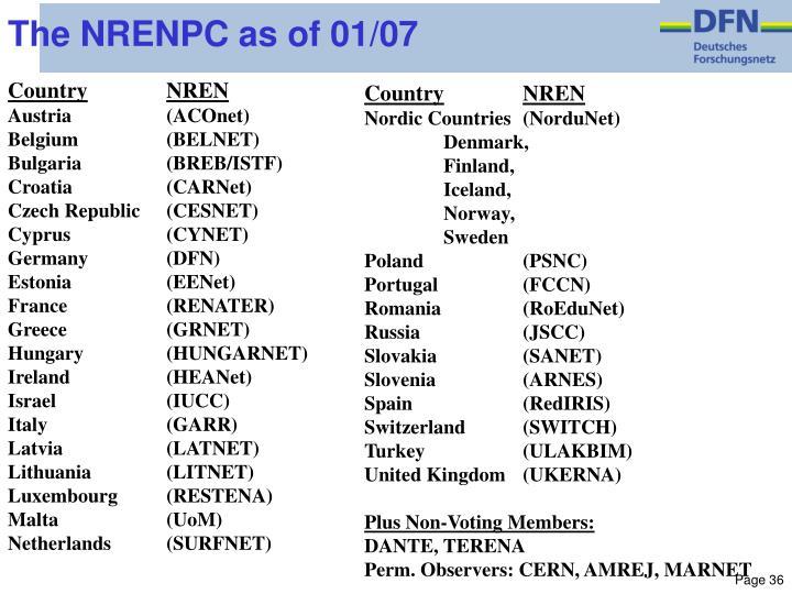 The NRENPC as of 01/07