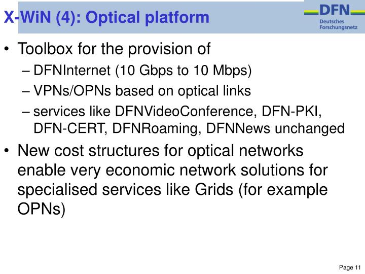 X-WiN (4): Optical platform