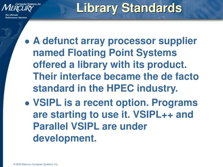Library Standards