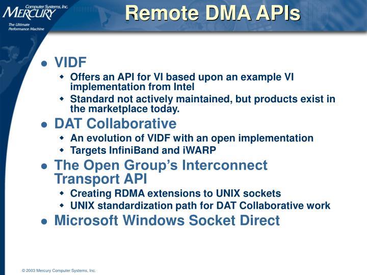Remote DMA APIs