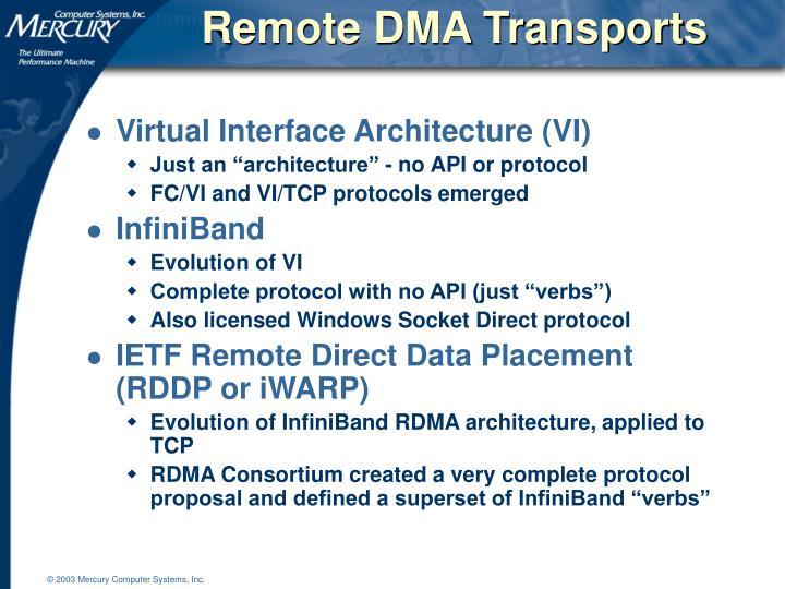 Remote DMA Transports