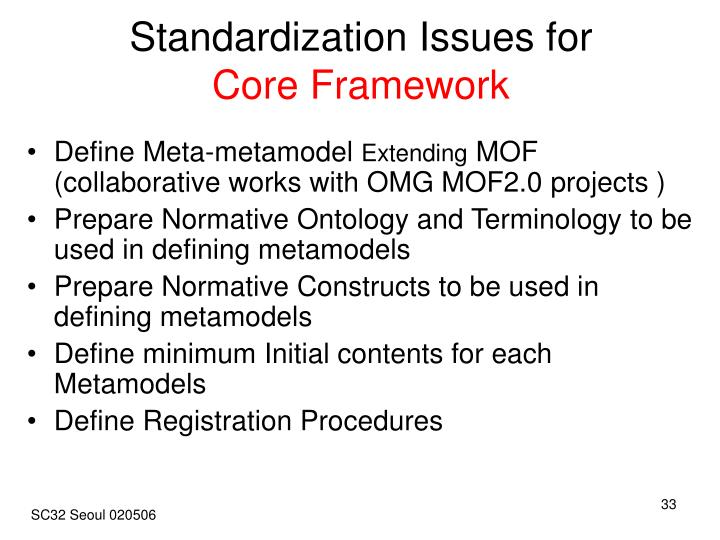 Standardization Issues for