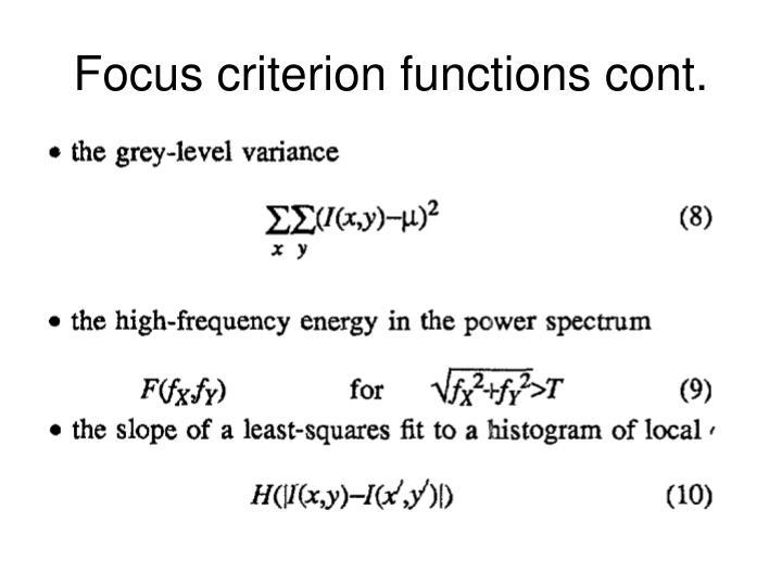 Focus criterion functions cont.