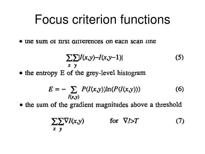 Focus criterion functions