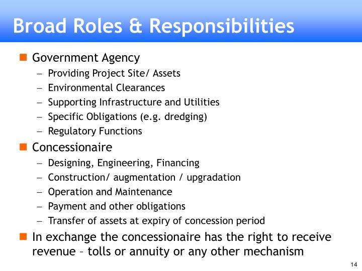 Broad Roles & Responsibilities
