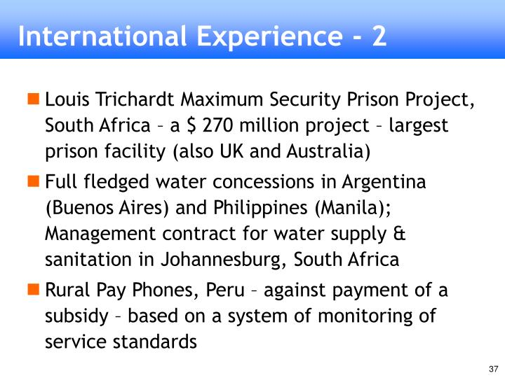 International Experience - 2