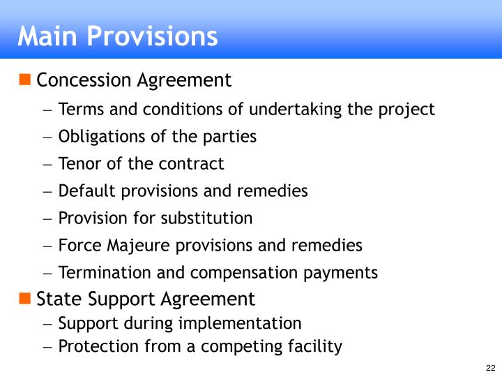 Main Provisions