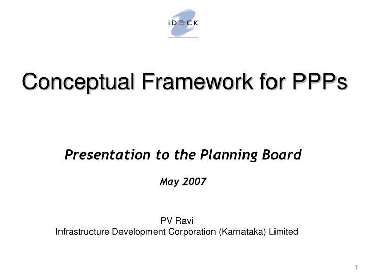 Conceptual Framework for PPPs