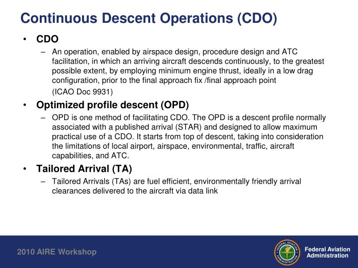 Continuous descent operations cdo