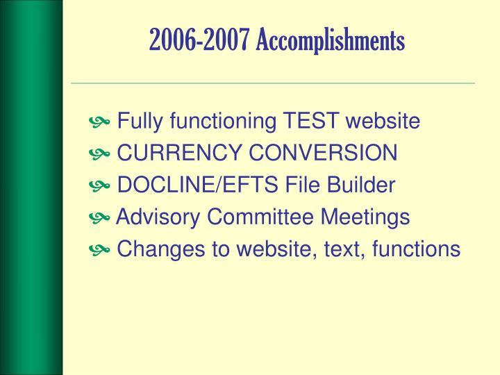 2006-2007 Accomplishments