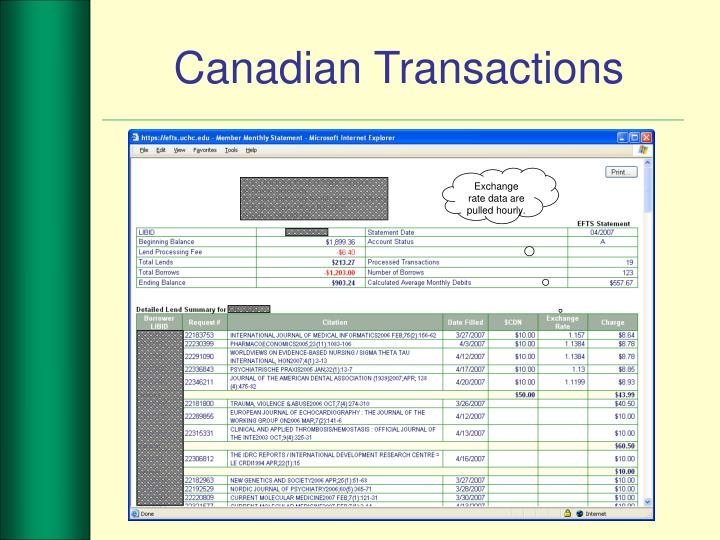 Canadian Transactions