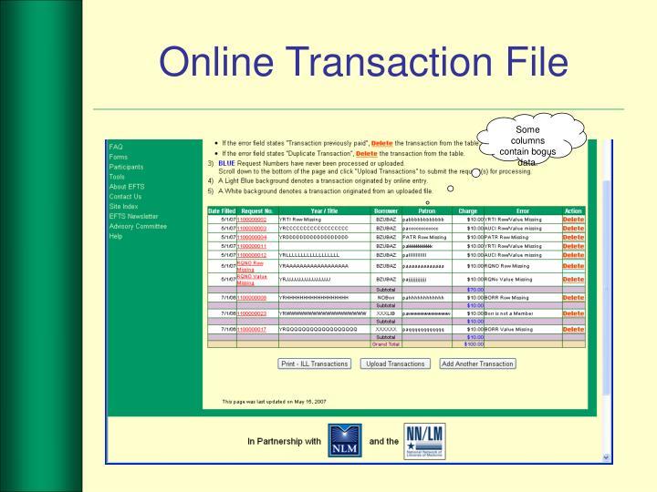 Online Transaction File
