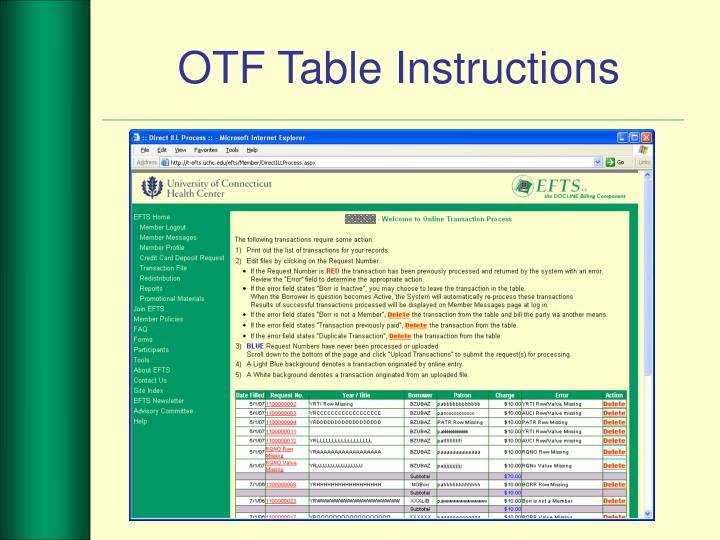 OTF Table Instructions