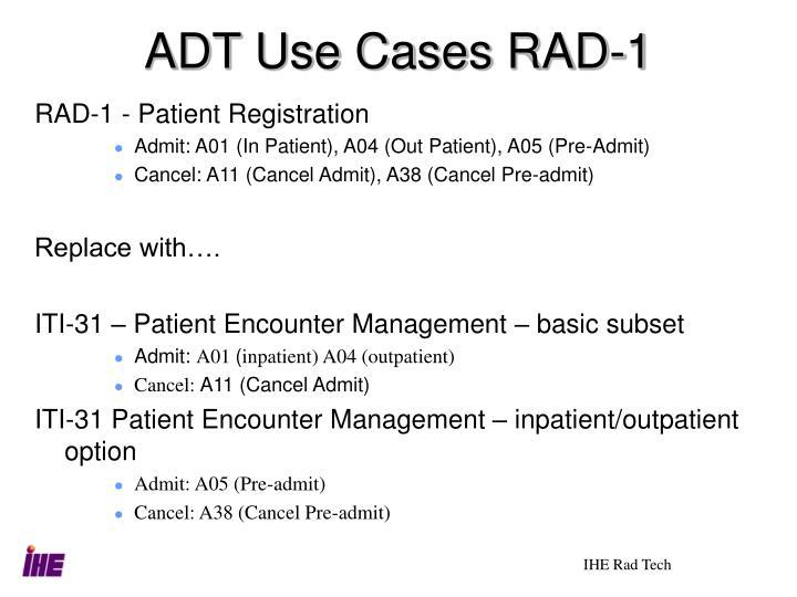 ADT Use Cases RAD-1
