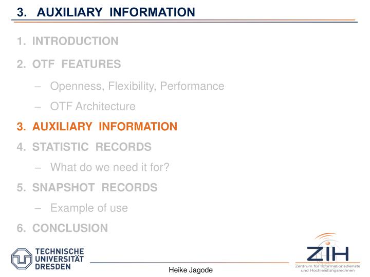 3.   AUXILIARY  INFORMATION
