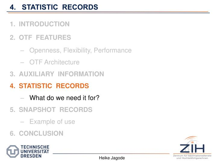 4.   STATISTIC  RECORDS