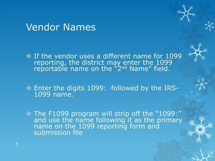 Vendor Names