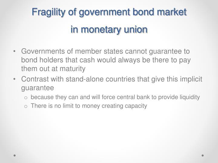 Fragility of government bond market