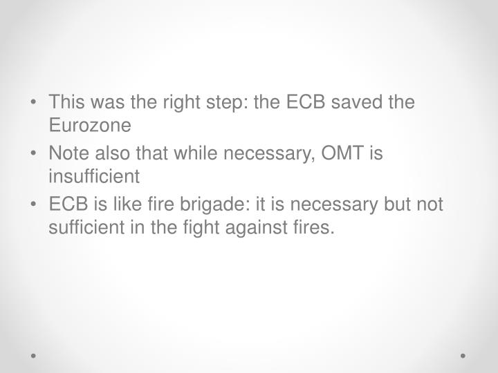 This was the right step: the ECB saved the Eurozone