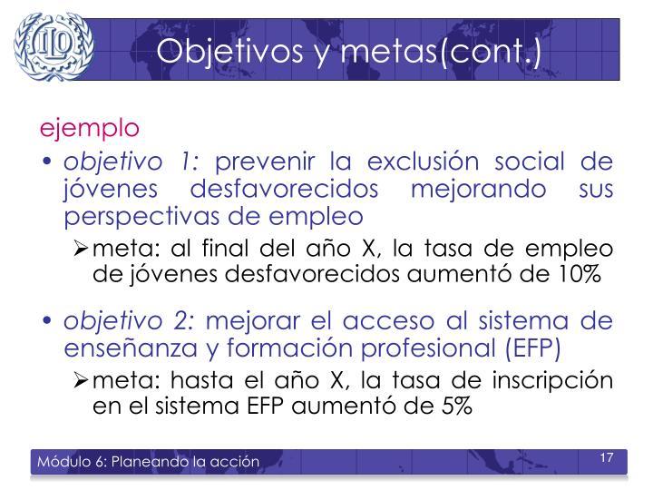 Objetivos y metas(cont.)