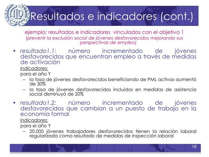 Resultados e indicadores (cont.)