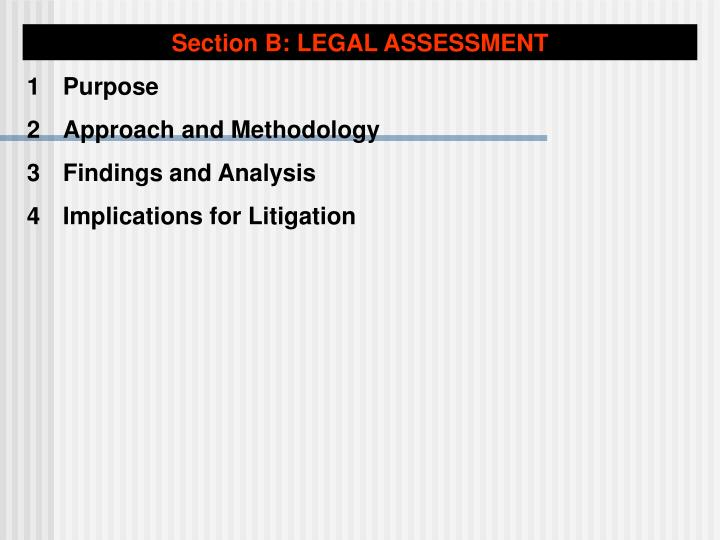 Section B: LEGAL ASSESSMENT
