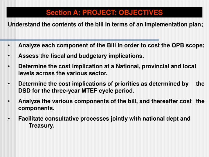 Section A: PROJECT: OBJECTIVES