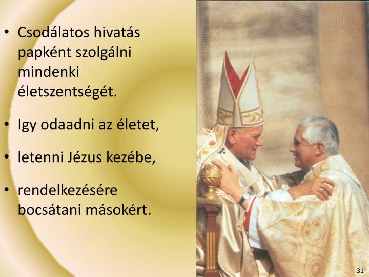 Csodálatos hivatás papként szolgálni mindenki életszentségét.