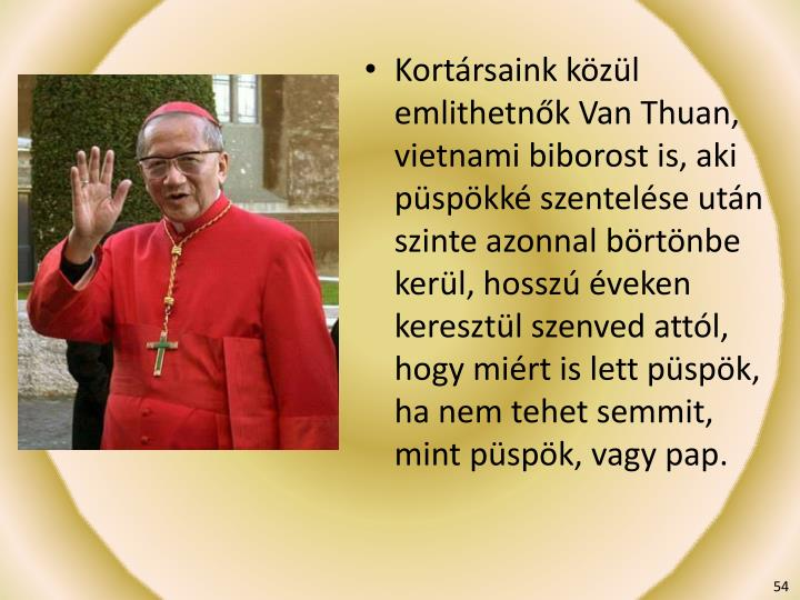Kortársaink közül emlithetnők Van Thuan, vietnami biborost is, aki püspökké szentelése után szinte azonnal börtönbe kerül, hosszú éveken keresztül szenved attól, hogy miért is lett püspök, ha nem tehet semmit, mint püspök, vagy pap.