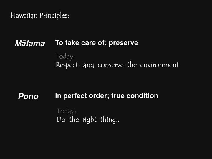 Hawaiian Principles:
