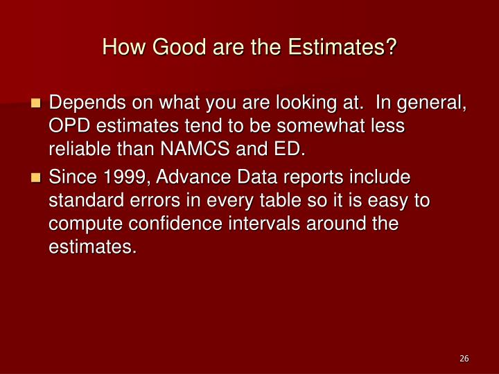 How Good are the Estimates?