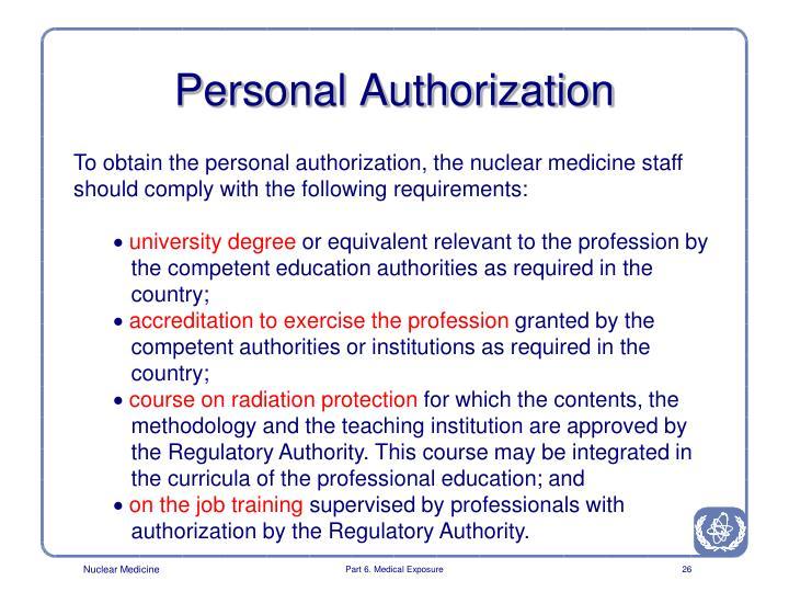 Personal Authorization