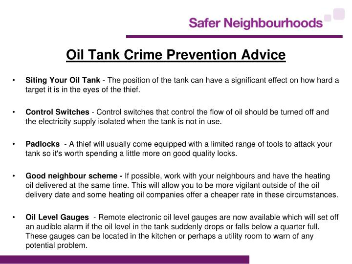 Oil Tank Crime Prevention Advice