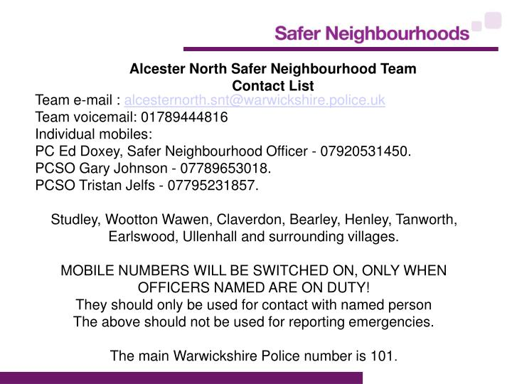 Alcester North Safer Neighbourhood Team