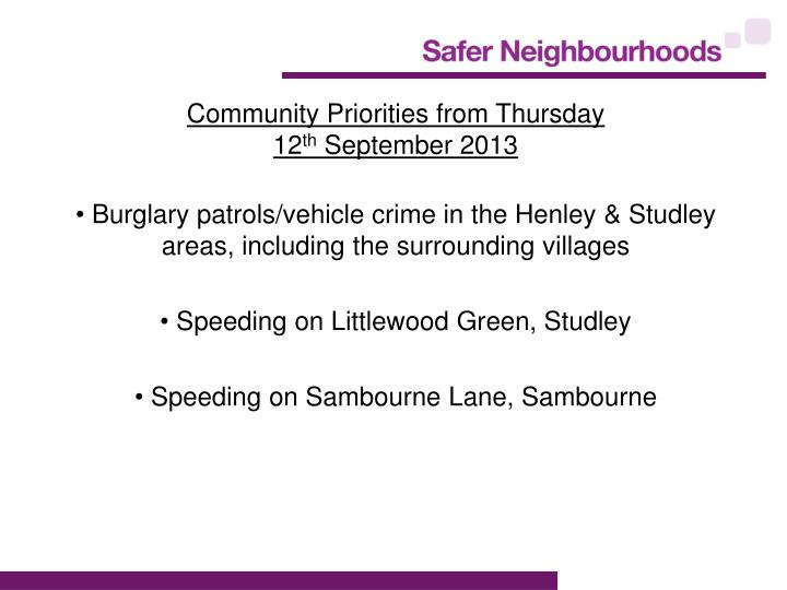Community Priorities from Thursday