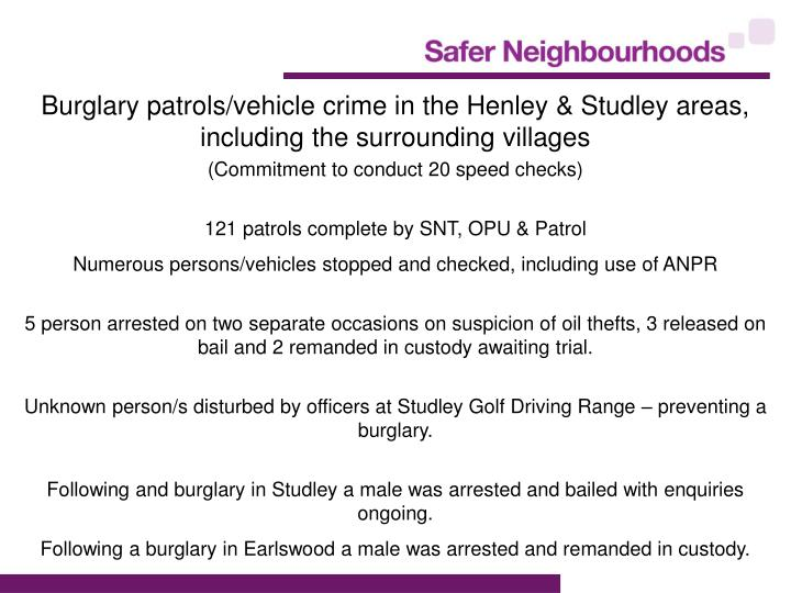 Burglary patrols/vehicle crime in the Henley & Studley areas, including the surrounding villages