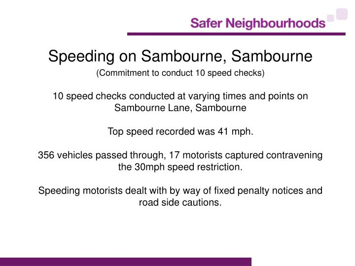 Speeding on Sambourne, Sambourne