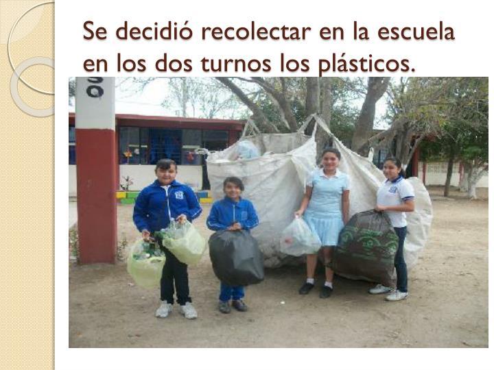 Se decidió recolectar en la escuela en los dos turnos los plásticos.