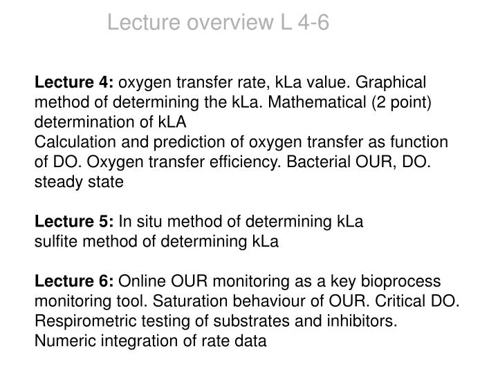 Lecture overview L 4-6