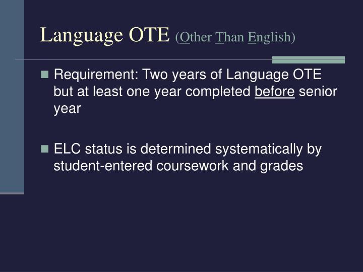 Language OTE
