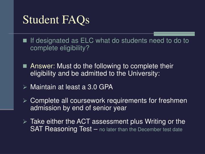 Student FAQs
