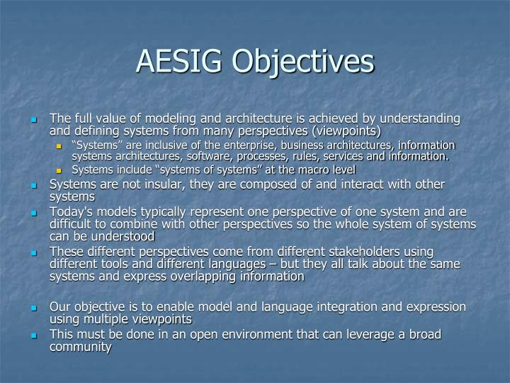 AESIG Objectives